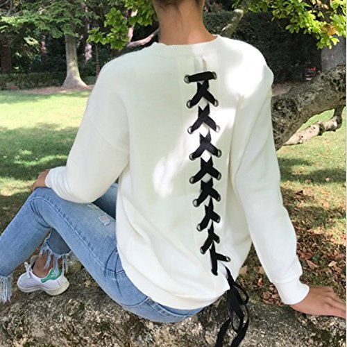 Hibote Femmes Manches Longues T-Shirts Tops Casual Sweatshirt Lace Up Pullover Automne Hiver Blouses Top Blanc