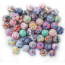 WINOMO 50stk 10mm Runde Polymer Clay Perlen DIY Basteln Perlen für Armband Halskette Fimo Schmuck Zubehör (Gemischte Farbe)