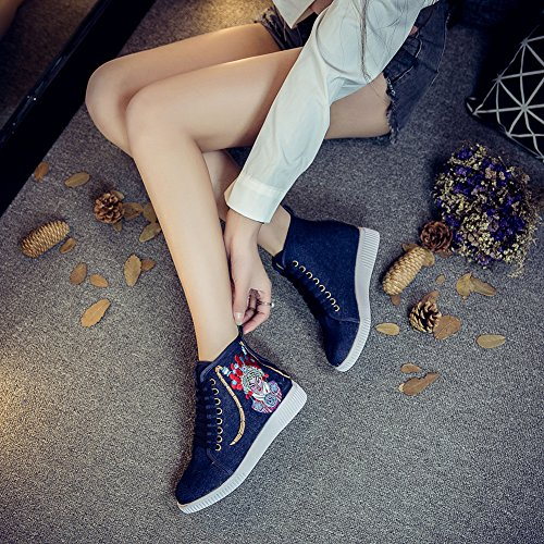 Icegrey Scarpe Da Ginnastica High Top Sneaker Ricamato A Mano Sneakers Nero