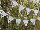 Wimpelkette weiß mit Herzformen–Ideal für Hochzeit, Party, Taufe oder jeden besonderen Anlass