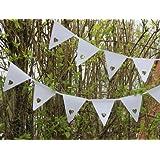Color blanco corazón banderines pancarta–Ideal para una boda, fiesta, bautizo o cualquier ocasión especial