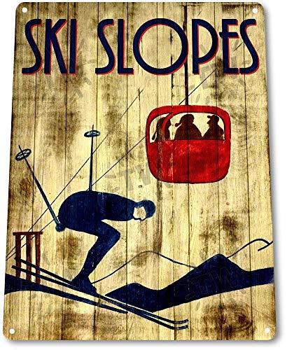 Tin Sign B309 - Cartel de Metal para decoración de esquís y esquís (20,3 x 30,5 cm)