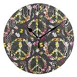 funnyy - Reloj de Pared de acrílico, diseño de símbolo de la Paz, diseño de Flores,...