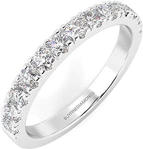 Anello half eternity in platino con diamanti a taglio rotondo incastonati a micro pavè da 0,15 kt a 1,00 kt, F/VS