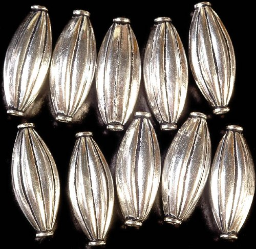 Sterling Mridangam Beads (Price Per Pair) - Sterling Silver