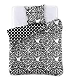 DecoKing 42168 Bettwäsche 135 x 200 cm*2 + 80 x 80 * 2 4tlg 2 Bettbezüge mit 2 Kissenbezügen 80x80 schwarz weiß geometrisches Muster Bettbezüge Microfaser Hypnosis Mandala