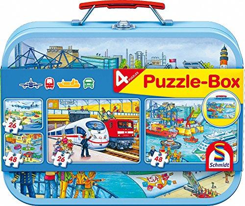 Schmidt Spiele 56508 Verkehrsmittel, Puzzle-Box im Metallkoffer, 2x26 und 2x48 Teile Kinderpuzzle, bunt