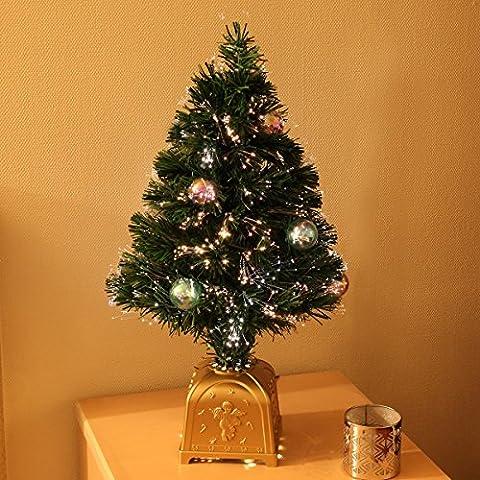 strombetriebener, künstlicher, tannengrüner Innen Weihnachtsbaum mit Verzierung (bunte Kugeln) und farbwechselnder Glasfaser Beleuchtung (Fibre Optic), ca. 60cm, von Festive Lights