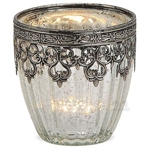 matches21 Windlicht Kerzenglas Glas Teelichtglas Orientalisch Marokko Design Silber antik Metalldekor 1 STK Ø 8x9 cm