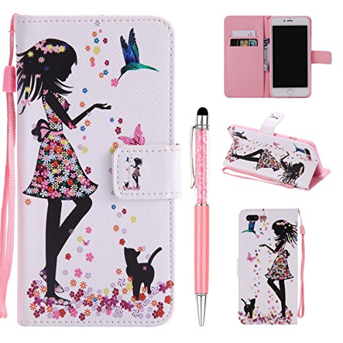 Cover Pelle per iPhone 7 Plus,per iPhone 8 Plus Custodia, ZCRO Cover Flip Portafoglio Libro in Pelle PU Wallet Case Multifunzione Copertura Colorate Disegno Modello Caso con Magnetica Cinturino Suppor Fiori Ragazza Gatto