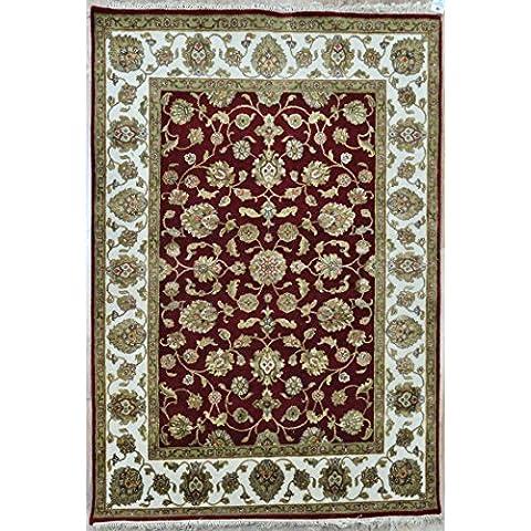 Splendid Indian Art rojo-color marfil artesanal área persa de lana alfombra alfombra