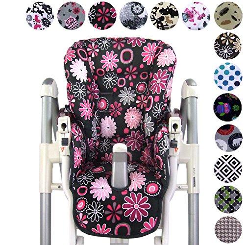 Babys-Dreams Sitzkissen Ersatzbezug für Peg Perego Prima Pappa Diner *20 FARBEN* NEU (Grau Pinke Blumen)