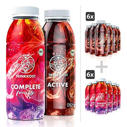 TRINKKOST Set I Complete Fruity & Active Choco I Trinknahrung und Eiweiß Shake – Abnehmen und Muskeln aufbauen I Mahlzeitenersatz für Unterwegs