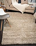 A2Z Rug (80x150 cm (2ft8 x 5ft) Light Beige) Cozy Shag Collection Solid 5.5 cm Pile Shag Rug Contemporary Living & Bedroom Soft Shaggy Area Rug, Carpet