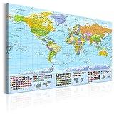 murando - Weltkarte Pinnwand 120x80 cm Bilder mit Kork Rückwand Set mit 50 Markierfähnchen-Pinnnadeln Vlies Leinwandbild Korktafel Wandbilder XXL Kunstdrucke Lernkarte Reise Landkarte k-A-0204-p-a