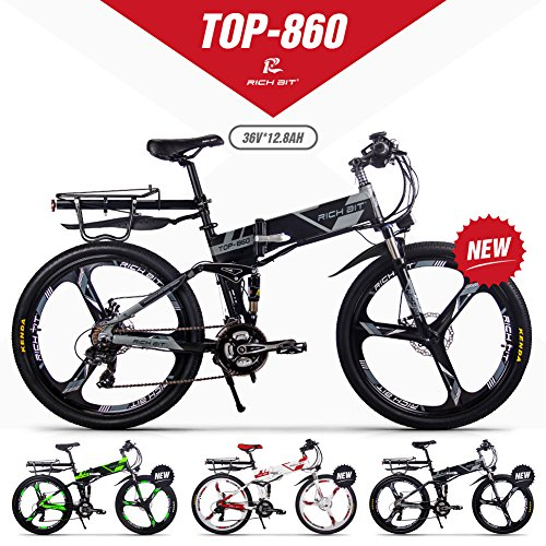 GUOWEI Rich bit RT-860 36V 12.8AH 250W Bicicleta Plegable eléctrica Bicicleta de Ciudad de suspensión Completa (Black-Gray)