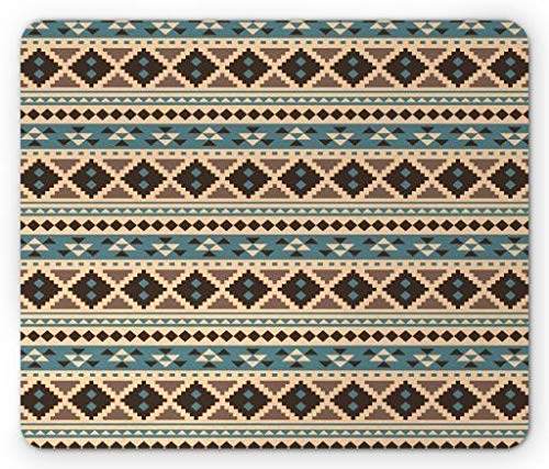 American Folk-flag (WYICPLO Blue and Beige Mouse Pad, Boho Ethnic Native American Primitive Folk Design, Standard Size Rectangle Non-Slip Rubber Mousepad, Cadet Blue Pale Peach Brown and Beige)