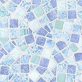 Venilia Basic 45 cm x 150 cm Klebefolie Mosaik Dekofolie Möbelfolie Tapeten selbstklebende Folie, PVC, ohne Phthalate, 45 x 150 cm, 53234, Mosaiik Blau