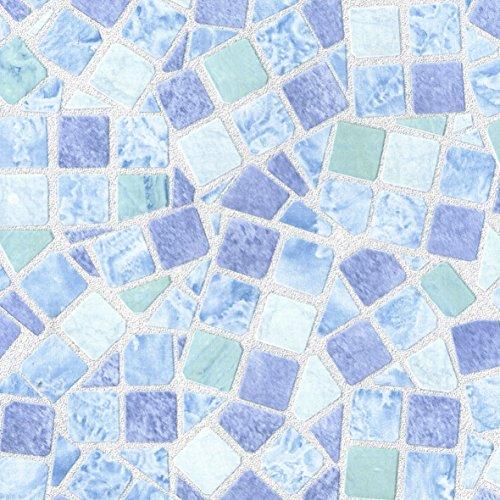 Klebefolie Basic Line Mosaik Dekofolie Möbelfolie Tapeten selbstklebende Folie, PVC, ohne Phthalate, blau, 45 x 150 cm, Venilia 53234