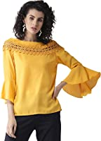 STYLE QUOTIENT Women Solid Top with Belll Sleeves for Office Wear, Casual Wear Under 500 for Women