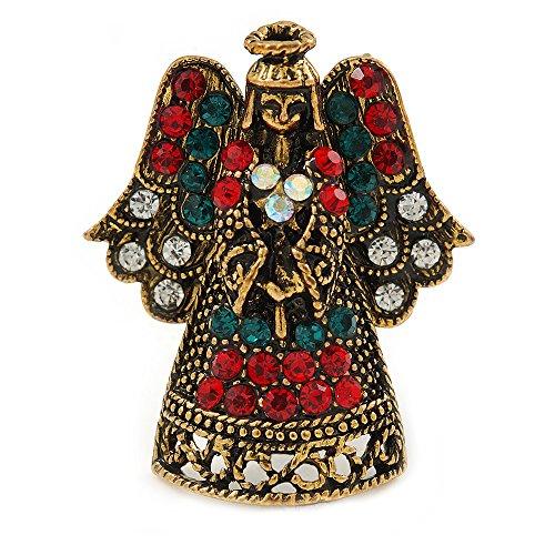 Kristall Wunderschöner Schutzengel Brosche Pin in gealtertem Gold Tone Xmas Weihnachten-32mm L (Schutzengel-pin)