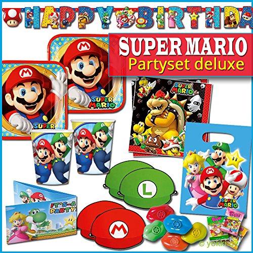 Unbekannt Super Mario - Kindergeburtstag XL Party Deko Paket Teller, Becher, Servietten & Partygeschenke (Luigi Mario Und Geburtstagsparty)