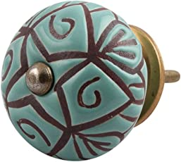 Indian-Shelf Handmade Ceramic Green Drawer/Dresser Knobs (CK-1386)