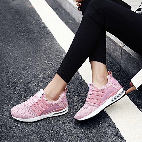 H-Mastery Unisex Herren Damen Sneakers Bequeme Atmungsaktiv Laufschuhe Schnürer Air Profilsohle Sportschuhe Luftpolster Turnschuhe Fitness Leichte Sportschuhe Pink