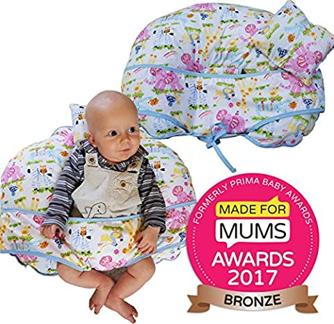 Unique 4 in 1 Premium Cotton Nursing Pillow with FREE Mini Pillow and Baby Harness (JUNGLE FABRIC))