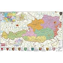 Österreich politisch - PLZ- und Organisationskarte - Wandkarte - Poster