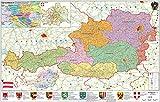 Österreich politisch - PLZ- und Organisationskarte - Wandkarte - Poster - Stiefel Eurocart