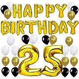 KUNGYO Happy Birthday Buchstaben Ballons +Nummer 30 Mylarfolie Ballon + 24 Stück Schwarzes Gold Weiß Luftballons -Perfekte 30 Jahre alte Geburtstagsfeier Dekoration Lieferungen