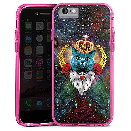 Apple iPhone 7 Bumper Hülle Bumper Case Glitzer Hülle Blaue Katze Koenig King Bumper Case transparent pink