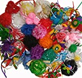 #8: Imported and Hand crafted Aakrti Craft Mix Bulk 25 pcs Ribbon Flowers Bows for Craft,Wedding Ornament Appliques & many more application. Solids and Prints Included - Assorted Color Mix