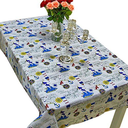 140x180cm Sailboat Muster Tischdecke Baumwollleinengewebe Rechteck Heim Tabelle Tuch-Abdeckung
