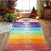 Vektenxi Premium Quality Rainbow Stripe Bohemia Wall Hanging Blanket Tapestry Summer Beach Towel Yoga Mat