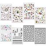 HOWAF 400+pcs Noël 3D Nail Art Stickers Autocollants à Ongles Flocon De Neige, arbre de Noël, renne, Noël Ongles Stickers pour Femmes Fille Enfants DIY Noël Ongles Décoration