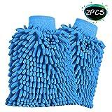 Sportlove Sportlove 2 Stücke Wasserdicht Mikrofaser Autowaschhandschuh weicher Korallen Auto Chenille Waschhandschuh Handschuh für Autowäsche, Haushalt usw.
