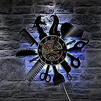 LXZ Peluquero Barbero Tienda Salón Led Vinilo Reloj Pared Ligero Color Cambio Vendimia Hecho A Mano Regalo Art Decoración Lámpara Remoto Controlar