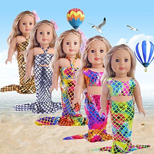 Baoblaze Modische Meerjungfrau Schwanz Puppenkleid & Top Badebekleidung Für 18 Zoll Mädchen Puppe - # 1 - Girl Strand Puppe American Kleidung