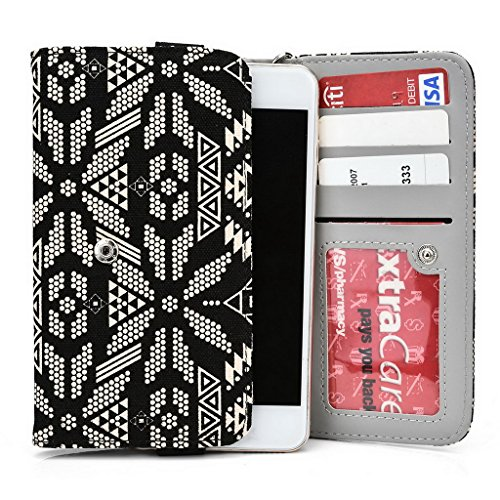 Kroo Téléphone portable Dragonne de transport étui avec porte-cartes pour épices Smart Flo 503(mi-503) Multicolore - vert Multicolore - noir