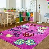 Kinder Teppiche für Kinderzimmer, Babyzimmer, Spielteppich Eule, Schmetterling mit Barock Motive, Multi Farben Pink Blau Rot Grün Weiss_0420, Farbe:Lila, Maße:120x170 cm