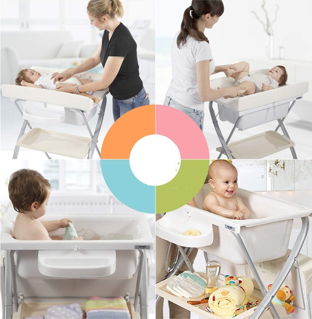 Changing Table Baby Changing Unit Fold Diaper Station Multifunction Care Station Dresser for Infant Newborn Baby Changing Clothes Changing Table (Color : White) Changing Table ●Size and Safe and Stable- L74 x W48 x H100cm,Suitable for babies weighing less than 25kg,With seat belt,Changing pad has a restraining strap for added safety and is made of easy to clean, soft ●2-in-1 design- Baby changing table can be used as baby massaging table as well. It is designed at the proper height of parent to prevent mom's back aches and pains from kneeling or bending when changing diapers to babies. ●Premium materials - Using high-quality materials for our 2 in 1 infant changing table,Reinforced metal,it is durable and stable for long time daily use,And easy to clean and maintain. 3