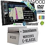 Mercedes C-Klasse W203 - Autoradio Radio Kenwood DNX4180BTS - 2-DIN NAVI | Bluetooth | CD/DVD | Apple CarPlay | Einbauzubehör - Einbauset