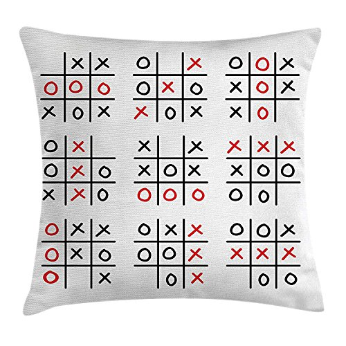 Pillow Cushion Cover, Doodle Style Tic Tac Toe Game Set Table with X and O Letters Artsy Design, Decorative Square Accent Pillow Case, 18 X 18 inches, Black White Red ()