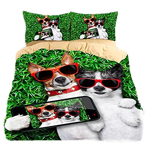 3D Betten Set Dog Betten Print Twin Queen King Super King Bettwäsche Bettbezug Set Bettwäsche, 1, King Size (Dog Print Bettwäsche)