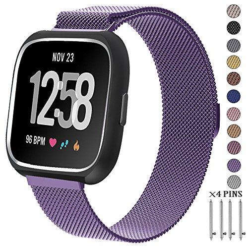 """CRZKO Fitbit Versa Armband, Milanese Einstellbares Ersatzarmband mit starkem Magnetverschluss, Sportarmbänder für Fitbit Versa Fitness Smart Watch(S(5.1""""-7.6""""/130mm-215mm), Lavendelviolett)"""