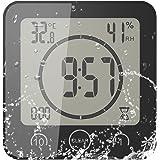 FORNORM Shower Clock Dusche Uhr Wasserdicht, Badezimmer Uhr Digital mit Saugnapf LCD Display Luftfeuchtigkeit Temperatur Wand