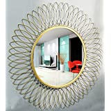 Furnish Craft Beautiful Modern Designed Sunflower Iron Decorative Wall Mirror For Living Room (Size- 28 X 28 Inch)