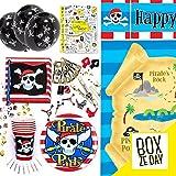 La Box Ze Day PIRATES - le kit de fête d'anniversaire de 109 pièces - vaisselle, déco, cadeaux, activités